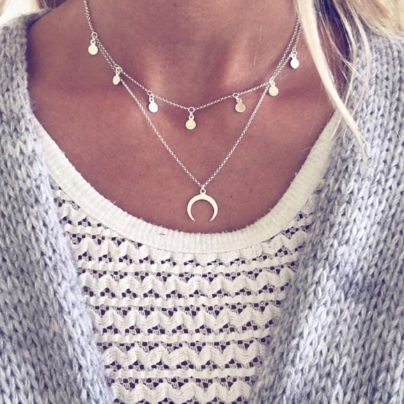 f51189481d Jewelry | Silver Coin Crescent Moon Layered Choker Necklace | Poshmark
